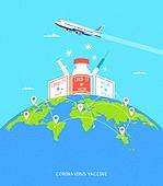 예방접종 (주사), 코로나바이러스 (바이러스), 코로나19 (코로나바이러스), 바이러스, 비행기, 화물비행기, 지구 (행성)