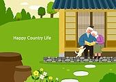 라이프스타일, 집, 전원생활 (컨셉), 별장 (건설물), 가족, 부부, 한옥, 도시저택 (집), 노인커플 (커플)