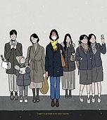 코로나바이러스 (바이러스), 코로나19 (코로나바이러스), 라이프스타일 (주제), 우울, 우울 (슬픔), 사람, 청년 (성인), 생활속거리두기 (사회이슈), 사회적거리두기 (사회이슈), 여러명[6-10] (사람들), 마스크 (방호용품)