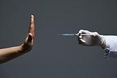 예방접종 (주사), 코로나바이러스 (바이러스), 코로나19 (코로나바이러스), 집단면역 (주제), COVID-19 (Coronavirus), 약 (의료품), 치료, 예방접종, 질병예방, 주사기, 주사, 거부 (정지활동), 거절 (컨셉)