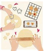 사람손 (주요신체부분), 음식, 집 (주거건물), 요리 (음식상태), 베이킹, 발렌타인데이 (홀리데이), 초콜릿, 쿠키