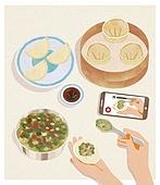 사람손 (주요신체부분), 음식, 집 (주거건물), 요리 (음식상태), 한식, 만두 (한식)