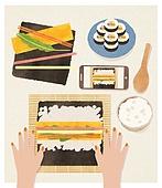 사람손 (주요신체부분), 음식, 집 (주거건물), 요리 (음식상태), 김밥, 한식