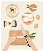 사람손 (주요신체부분), 음식, 집 (주거건물), 요리 (음식상태), 한식, 스마트폰, 가래떡, 떡국 (명절음식)