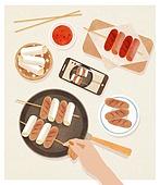 사람손 (주요신체부분), 음식, 집 (주거건물), 요리 (음식상태), 소떡소떡 (떡꼬치), 스마트폰