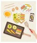 사람손 (주요신체부분), 음식, 집 (주거건물), 요리 (음식상태), 한식, 스마트폰