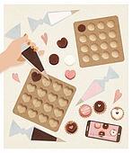 사람손 (주요신체부분), 음식, 집 (주거건물), 요리 (음식상태), 베이킹, 발렌타인데이 (홀리데이), 초콜릿