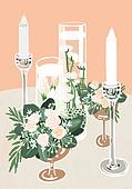 결혼 (사건), 결혼, 연례행사 (사건), 장식품 (인조물건), 결혼식, 꽃, 실외 (Setting), 초, 촛대받침 (데코르)