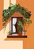 봄, 창문, 프레임, 빛 (자연현상), 꽃, 풍경 (컨셉), 화분