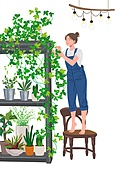 사람, 라이프스타일, 집콕 (컨셉), 집, 레이어드홈, 식물, 화분, 플랜테리어, 원예 (레저활동), 취미