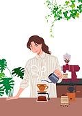 사람, 라이프스타일, 집콕 (컨셉), 집, 레이어드홈, 화분, 식물, 플랜테리어, 리프레시 (컨셉), 커피 (뜨거운음료), 핸드드립 (커피)