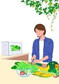사람, 라이프스타일, 집콕 (컨셉), 집, 레이어드홈, 화분, 식물, 플랜테리어, 리프레시 (컨셉), 요리 (음식상태), 샐러드