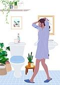 사람, 라이프스타일, 집콕 (컨셉), 집, 레이어드홈, 화분, 식물, 플랜테리어, 리프레시 (컨셉), 욕실