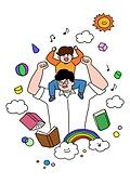 가족, 애정표현 (밝은표정), 밝은표정, 건강한생활 (주제), 부모, 자식 (가족), 아빠, 목마 (어깨에올리기)