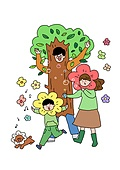 가족, 애정표현 (밝은표정), 밝은표정, 건강한생활 (주제), 부모, 자식 (가족), 장난치기 (감정), 나무, 꽃, 식목