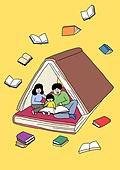 가족, 애정표현 (밝은표정), 밝은표정, 건강한생활 (주제), 부모, 자식 (가족), 책, 독서