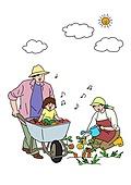 가족, 애정표현 (밝은표정), 밝은표정, 건강한생활 (주제), 부모, 자식 (가족), 전원생활 (컨셉), 경작 (식물속성), 음표