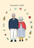 노인 (성인), 프레임, 패션, 멋 (컨셉), 어번그래니 (실버라이프), 노인여자 (성인여자), 노인남자 (성인남자), 부부, 커플, 노인커플 (커플)
