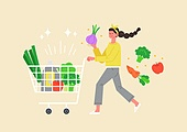 사람, 연례행사 (사건), 상업이벤트 (사건), 쇼핑 (상업활동), 세일 (상업이벤트), 봄, 2021년, 여성, 쇼핑카트 (소매업장비), 슈퍼마켓 (가게)