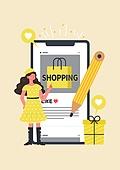 사람, 연례행사 (사건), 상업이벤트 (사건), 쇼핑 (상업활동), 세일 (상업이벤트), 봄, 2021년, 여성, 스마트폰, 모바일쇼핑, 인증 (컨셉)
