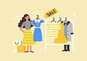 사람, 연례행사 (사건), 상업이벤트 (사건), 쇼핑 (상업활동), 세일 (상업이벤트), 봄, 2021년, 여성, 옷, 드레스, 쇼핑백