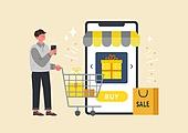 사람, 연례행사 (사건), 상업이벤트 (사건), 쇼핑 (상업활동), 세일 (상업이벤트), 봄, 2021년, 남성, 스마트폰, 쇼핑카트 (소매업장비), 쇼핑백
