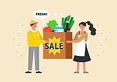 사람, 연례행사 (사건), 상업이벤트 (사건), 쇼핑 (상업활동), 세일 (상업이벤트), 봄, 2021년, 여성, 남성, 슈퍼마켓 (가게), 배달 (일), 장보기0