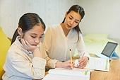 초등학생, 홈스쿨링 (교육), 집 (주거건물), 공부 (움직이는활동), 무관심