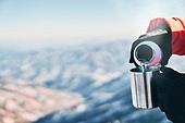 겨울, 산 (지세), 하이킹 (아웃도어), 산악등반 (클라이밍), 하이킹, 산악등반, 체력, 취미, 운동, 맨위 (위치묘사), 산봉우리, 뜨거운음료 (무알콜음료), 컵 (그릇), 보온병