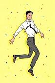 청년 (성인), 비즈니스, 화이트칼라 (전문직), 점프, 꽃가루, 밝은표정, 웃음 (얼굴표정), 희망 (컨셉), 시작 (컨셉), 비즈니스맨