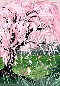 봄, 비 (물형태), 풍경 (컨셉), 자연, 녹색 (색), 벚꽃, 벚나무 (과수)