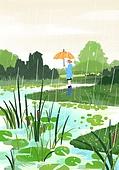 봄, 비 (물형태), 풍경 (컨셉), 자연, 녹색 (색), 우산 (액세서리), 시냇물 (유수)