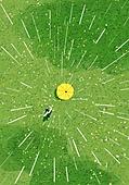 봄, 비 (물형태), 풍경 (컨셉), 자연, 녹색 (색), 탑앵글 (카메라앵글), 우산 (액세서리), 풀 (식물)