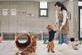 강아지, 강아지유치원, 여성, 미소