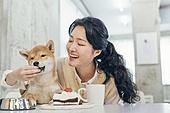여성, 강아지, 반려동물, 카페, 애견카페, 펫테크 (사회이슈), 미소, 밝은표정, 먹여주기 (움직이는활동), 펫푸드
