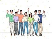 사람, 청년 (성인), 신입사원 (화이트칼라), 꽃가루, 밝은표정, 여러명[3-5] (사람들), 대학생, 인사 (제스처)