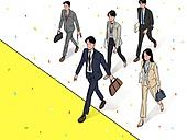 사람, 청년 (성인), 신입사원 (화이트칼라), 꽃가루, 밝은표정, 여러명[3-5] (사람들), 채용 (고용문제), 구직 (실업), 취업준비생 (역할), 성공, 걷기, 슈트 (옷), 화이트칼라 (전문직)