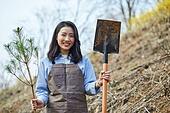 한국인, 묘목, 식목일, 환경보호, 식목 (환경보호), 삽 (작업도구), 미소