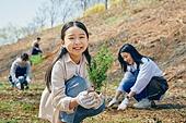 한국인, 묘목, 식목일, 환경보호, 식목 (환경보호), 어린이 (나이), 소녀, 미소