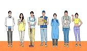 사람들, 일렬 (배열), 밝은표정, 미소 (얼굴표정), 여러명[6-10] (사람들), 택배배달부 (배달부), 배달 (일), 의학 (과학), 의사, 예방접종 (주사), 코로나바이러스 (바이러스), 간호사, 육아대디 (아빠), 그래픽태블릿 (컴퓨터장비) 디지털태블릿 (개인용컴퓨터), 플래카드 (안내판)