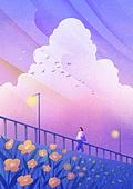 풍경 (컨셉), 하늘, 봄, 사람, 백그라운드, 구름, 땅거미 (여명), 일몰 (땅거미), 꽃밭, 가로등