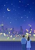 풍경 (컨셉), 하늘, 봄, 사람, 백그라운드, 밤 (시간대), 달 (하늘), 뒷모습, 커플, 야경, 도시, 초승달