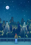 풍경 (컨셉), 하늘, 봄, 사람, 백그라운드, 밤 (시간대), 달 (하늘), 뒷모습, 도시, 야경, 가로등