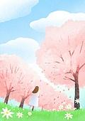 풍경 (컨셉), 하늘, 봄, 사람, 백그라운드, 구름, 벚꽃, 벚나무, 뒷모습