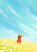 풍경 (컨셉), 하늘, 봄, 사람, 백그라운드, 구름, 꽃밭, 뒷모습