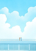 풍경 (컨셉), 하늘, 봄, 사람, 백그라운드, 구름, 지붕 (건물특징)