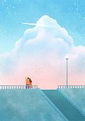 풍경 (컨셉), 하늘, 봄, 사람, 백그라운드, 구름, 일몰 (땅거미), 비행기, 비행기꼬리구름 (자국)