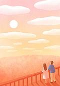 풍경 (컨셉), 하늘, 봄, 사람, 백그라운드, 구름, 일몰 (땅거미), 커플, 뒷모습