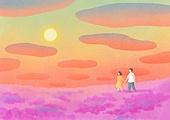 풍경 (컨셉), 하늘, 봄, 사람, 백그라운드, 구름, 일몰 (땅거미), 꽃밭, 커플
