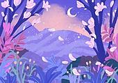 붓터치, 유화 (회화기법), 풍경 (컨셉), 환상 (컨셉), 동화, 꽃, 봄, 백그라운드, 초승달